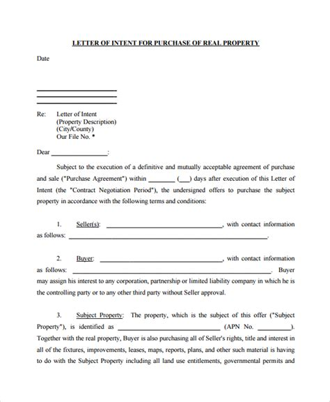letter of intent to purchase 9 letters of intent to purchase property pdf word 9201