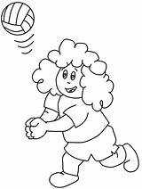Coloring Volleyball Play Curly Kid Pages Print Colornimbus sketch template
