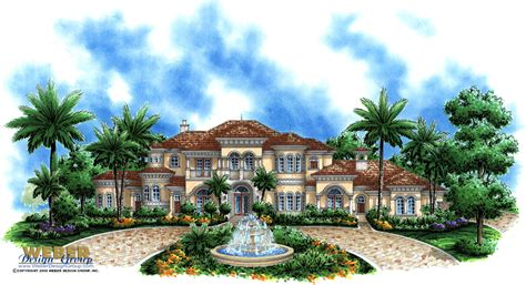 Luxury Mediterraniean House Plan  2 Story Waterfront