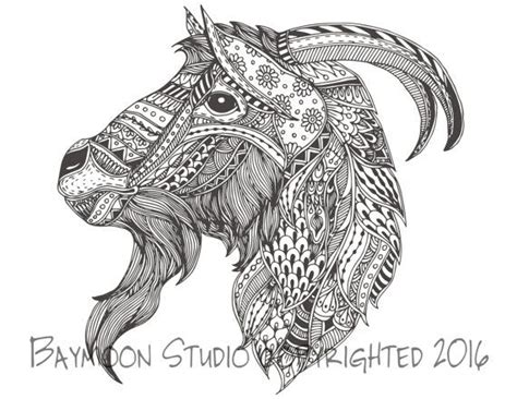 goat head coloring page printable coloring pages adult coloring pages hand drawn digital