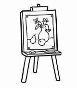 Easel Chevalet Colorare Cavalletto Coloring Schildersezel Libro Coloriage Colorir Boek Kleurend Cavalete Malbuch Schilderen Livro Abbildung Gestell Arte Junge Illustrazione sketch template