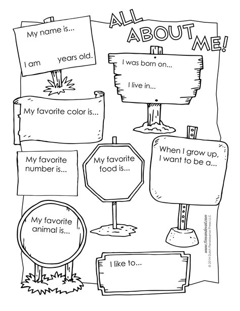 6 best images of all about me printable template all