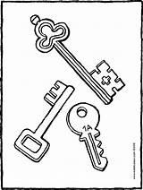 Keys Colouring Three Kiddicolour Drawing sketch template