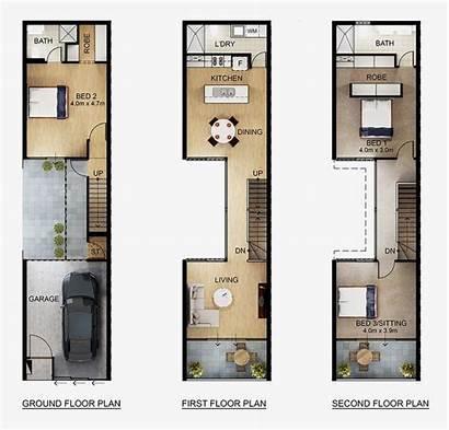 Narrow Terrace Plans Casas Casa Planos Addition
