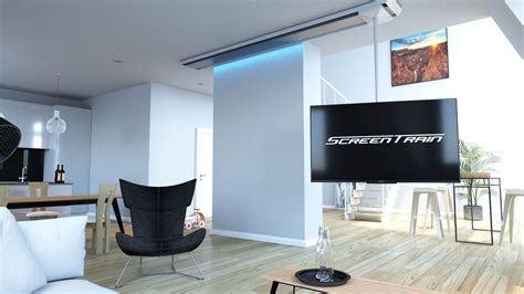 fernseher halterung decke tv halterung drehbar schwenkbar verschiebbar screentrain