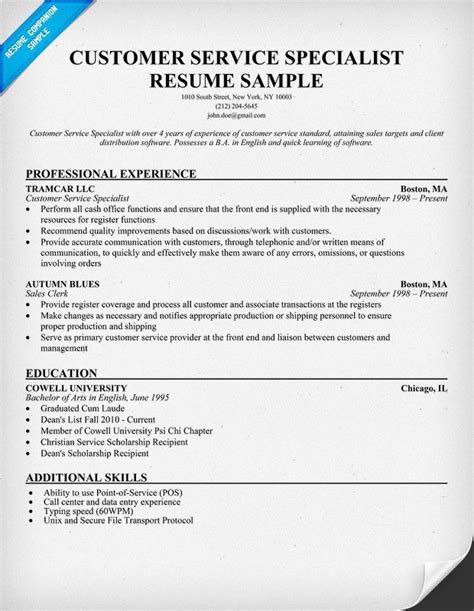 Customer Care Resume by Resume Template For It Specialist 100 Original