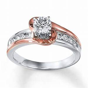 1 carat unique round two tone white and rose gold for Two gold wedding rings