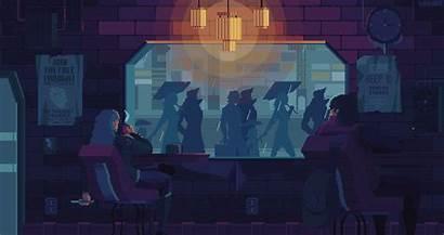 Pixel Animation Behance Rain Coffee Anime Gifs
