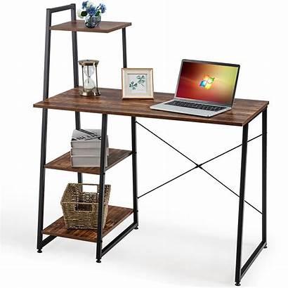 Desk Computer Brown Shelves Writing Costway Natural