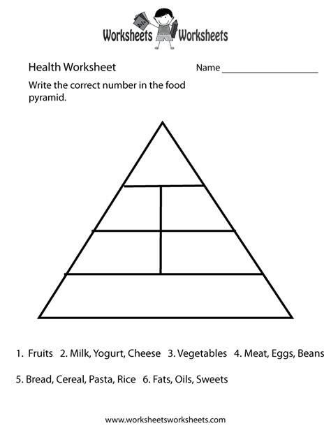 food pyramid health worksheet printable church food