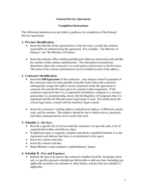 general service agreement template  banter general