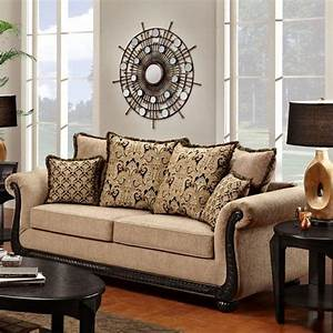 6000 traditional rolled arm sofa with scrolled wood trim for Furniture mattress outlet longview