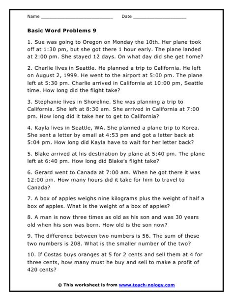 time related word problem worksheet version 9