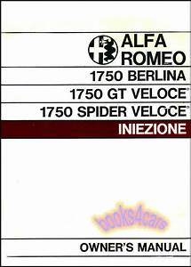 Alfa Romeo Owners Manual Handbook 1750 Guide Gt Spider Veloce Berlina 1969