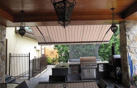 awning  outdoor kitchen rolltec retractable awnings toronto ontario canada