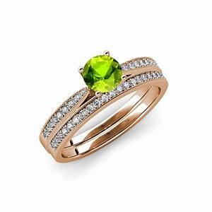 Peridot diamond engagement ring wedding band set 150 for Sell wedding ring set