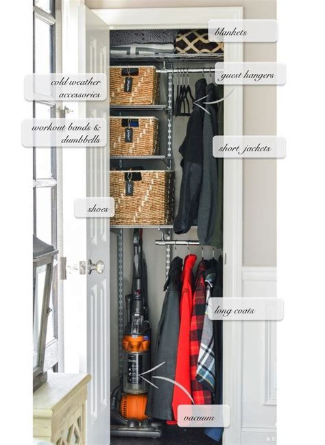 Entry Closet Organization Ideas by Organized Foyer Coat Closet Before And After Makeover
