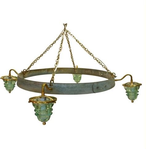 insulator light wine barrel hoop chandelier rustic