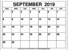 2019 Sept Calendar Printable isacl