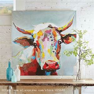 vache peinture a l39huile sur le mur de toile animaux With mettre de la peinture