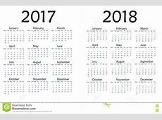 Простой календарь на 2017 и 2018 год Иллюстрация штока