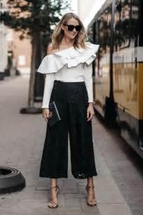 wear black lace culottes fashion jackson