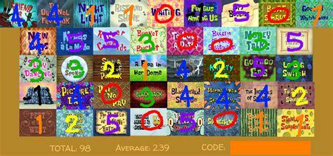 Spongebob Season 5 Scorecard By Aeroboltthedarkfox Fur