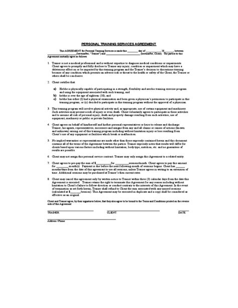 Personal Services Agreement Template by Personal Service Agreement Free