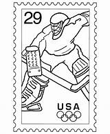 Coloring Stamp Postage Pages Sheets Usps Stamps Hockey Drawing Ice Postal Sports Olympic Activity Template Service Soccer Skating Collecting Getdrawings sketch template