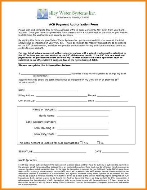 ach authorization form template 10 ach payment form template sles of paystubs