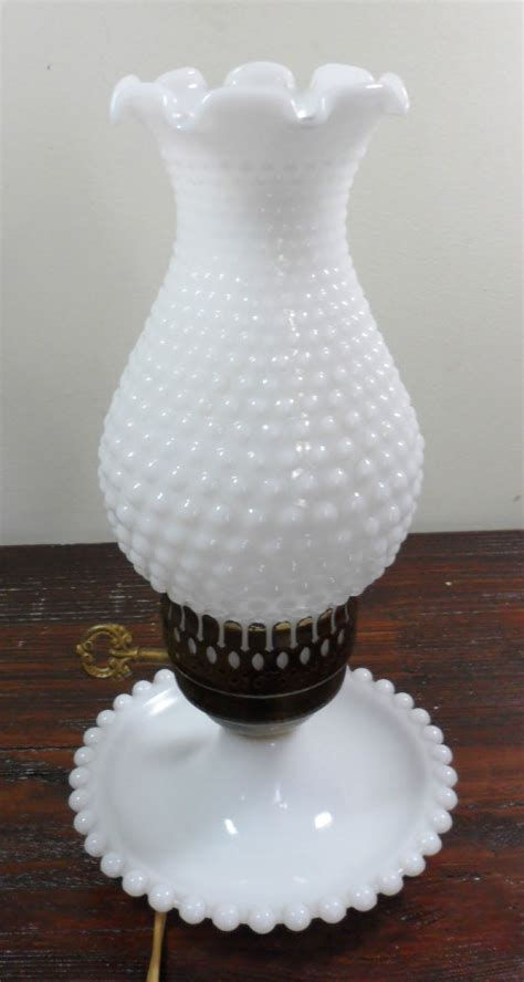 vintage white hobnail milk glass l vintage white milk glass hobnail ruffled chimney boudoir