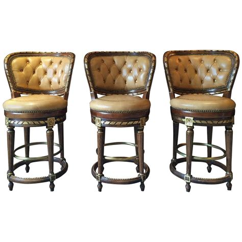 vintage leather bar stools set of three antique louis xv style mahogany 6838
