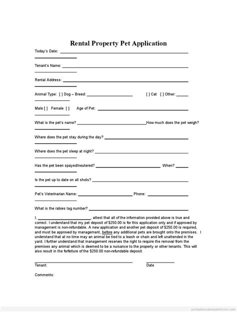 printable rental property pet application template 2015