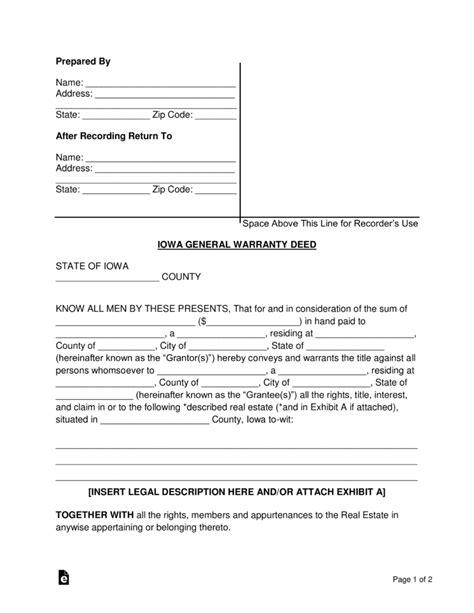 quit claim deed form iowa pdf free iowa general warranty deed form word pdf eforms