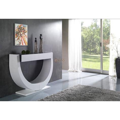 meuble haut cuisine laqué console contemporaine corps laqué blanc 2 tiroirs plateau