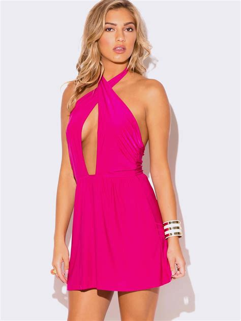 sleeve rompers pink wrap front halter mini dress