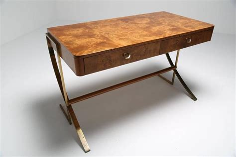 white desk with wooden legs hickory white burl wood desk with brass legs at 1stdibs