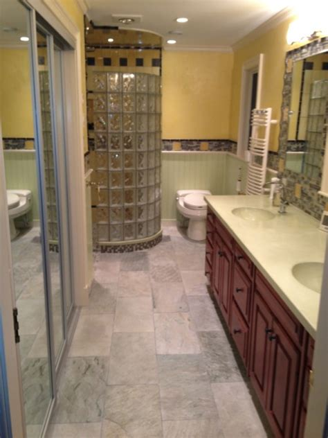 bathroom remodeling   curved glass block shower
