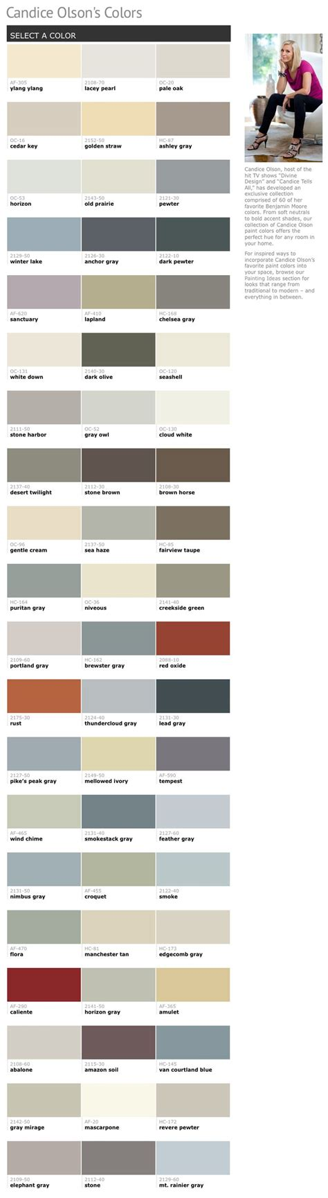 60 of candice olsons favorite benjamin paint colors