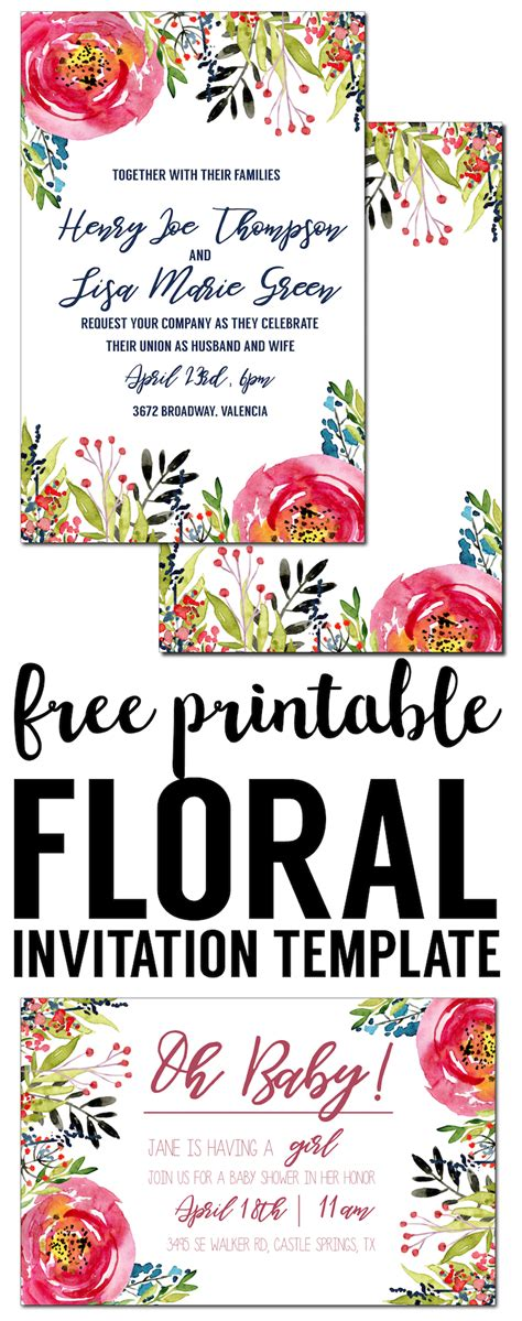 floral invitation template  printable paper trail