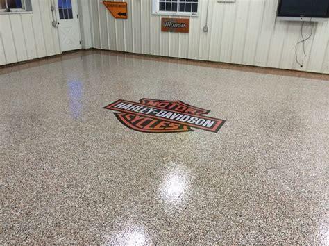 epoxy chip garage floor harley davidson logo installed by