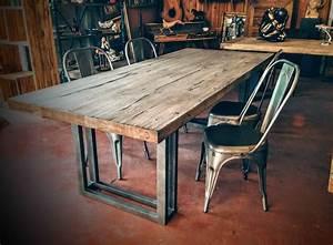 Table Bois Metal Avec Rallonge : table scandinave pied double u en acier cr ation sur mesure ~ Melissatoandfro.com Idées de Décoration