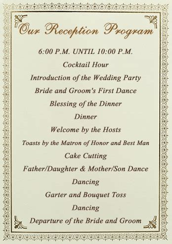 order of wedding reception wedding reception order of events sles wedding recepti