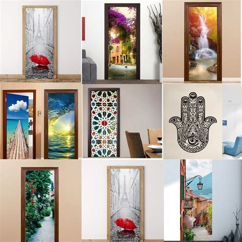 wall decor adhesive 3d door wall fridge sticker decals self adhesive mural