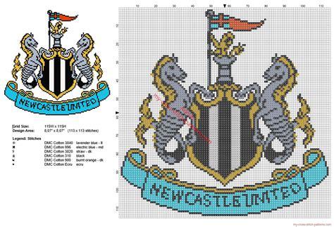 Newcastle United football club logo badge cross stitch ...