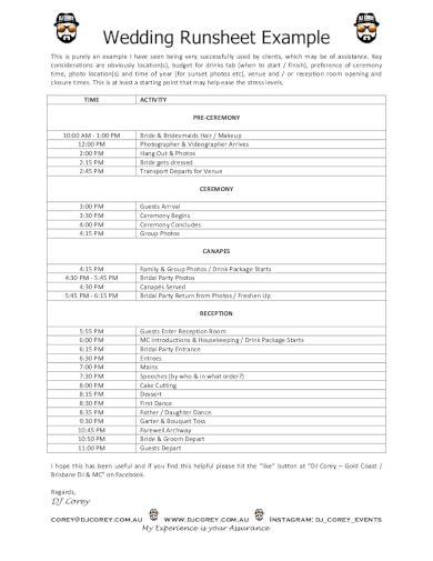 wedding run sheet examples templates