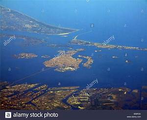 aerial view of venice seen from plane window Stock Photo