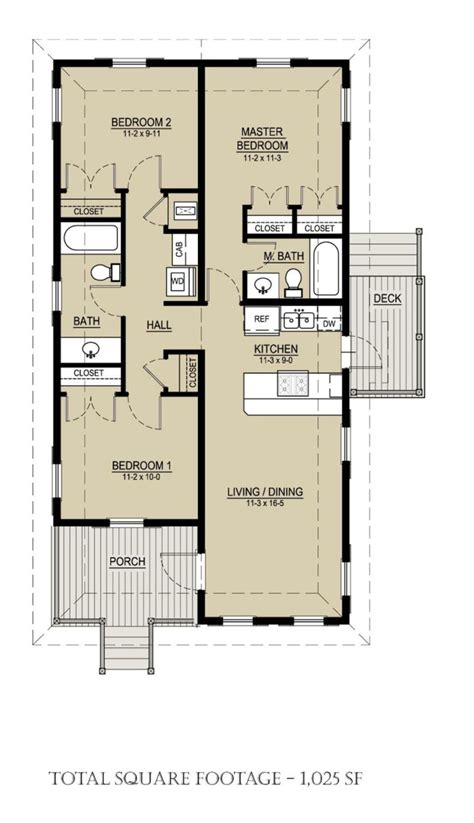 Cottage Style House Plan 3 Beds 2 Baths 1025 Sq/Ft Plan