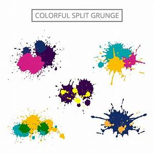 Colorful grunge paint stain set Vector | Free Download