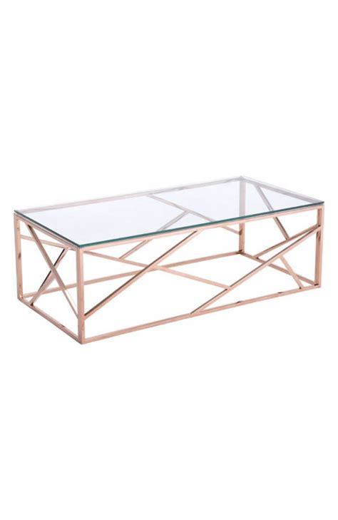 About this item exceptional quality: Aero Rose Gold Glass Coffee Table | Modern Furniture • Brickell Collection